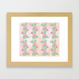 Tropical flowers and leaves watercolor Framed Art Print