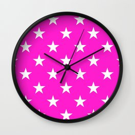 Stars (White/Hot Magenta) Wall Clock