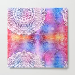 Modern Abstract Mandala Flower Metal Print