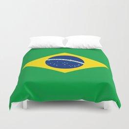 Flag of Brazil - Hi Quality Authentic version Duvet Cover
