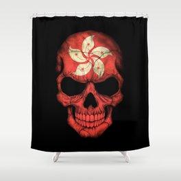 Dark Skull with Flag of Hong Kong Shower Curtain