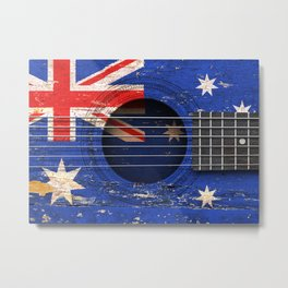 Old Vintage Acoustic Guitar with Australian Flag Metal Print
