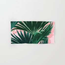 Pink and green palm trees Hand & Bath Towel