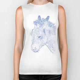 donkey drawing, blue Biker Tank