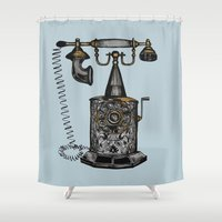 telephone Shower Curtains featuring Vintage telephone by pixiebumble