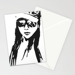 girl beach Stationery Cards