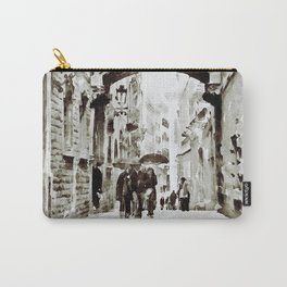 Carrer del Bisbe - Barcelona Black and White Carry-All Pouch