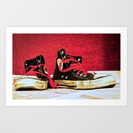 Worn out shoes Art Print