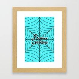 Bright Blue Spiderweb Logo Framed Art Print