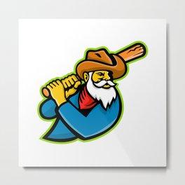 Miner Baseball Player Mascot Metal Print