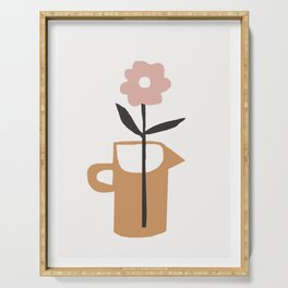 Aella - earthtones minimalist vase with florals simple art print for home decor Serving Tray