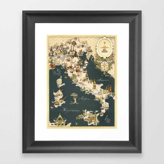 Gastronomic Map of Italy 1949 by lydiadavid