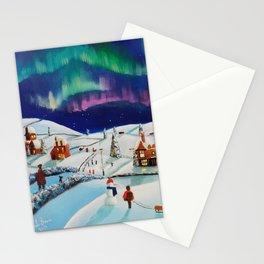 Winter village, folk art painting Stationery Cards