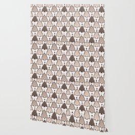 Winter Rustic Christmas Tree Lino Cut Texture Wallpaper