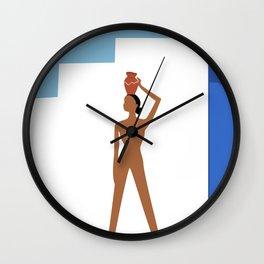 Greek serries _Woman with a clay pot Wall Clock