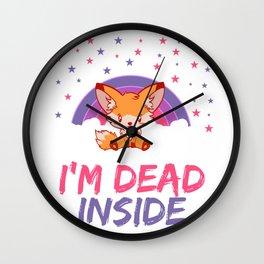 Fox I'm Dead Inside Depression Kills Raise Awareness T-shirt Design Help Heal Comfort Talk Chat Free Wall Clock