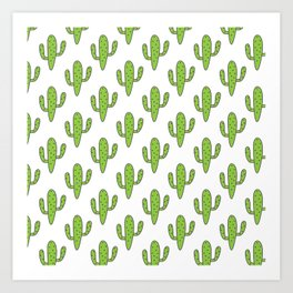 Hand painted green black white floral cactus Art Print