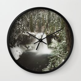 Winter Wanderlust Waterfall Wall Clock