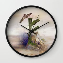 Fehu Rune  Digital Art Collage Wall Clock