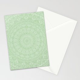 The Most Detailed Intricate Mandala (Green Olive Lime) Maze Zentangle Hand Drawn Popular Trending Stationery Cards