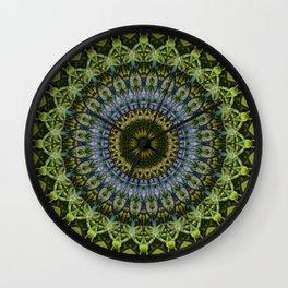 Olive and blue tones mandala Wall Clock