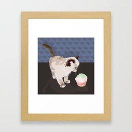 Kitten with a Cupcake Framed Art Print