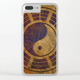 Purple Yin Yang Sign on Granite Clear iPhone Case