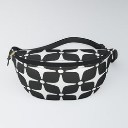 Mid Century Modern Star Pattern Black and White 2 Fanny Pack