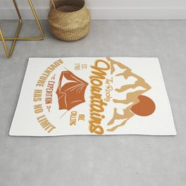 Vintage Retro Rocky Mountains Hiking Camping Gift Rug