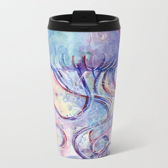 Jellyfish Watercolor Metal Travel Mug