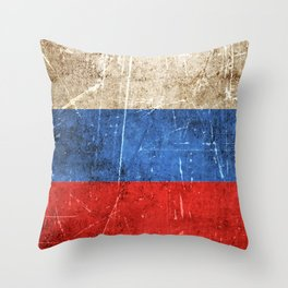 Vintage Aged and Scratched Russian Flag Throw Pillow