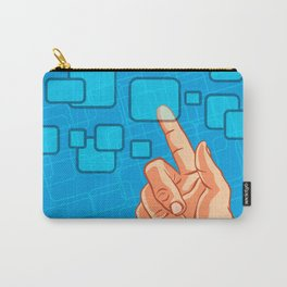 Hand pushing a button Carry-All Pouch