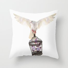 Even doves have pride Throw Pillow