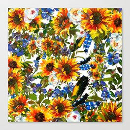 Abstract navy blue yellow watercolor sunflowers pansies pattern Canvas Print