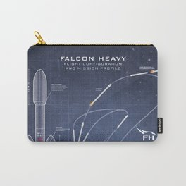 SpaceX Falcon Heavy Spacecraft NASA Rocket Blueprint in High Resolution (dark blue) Carry-All Pouch