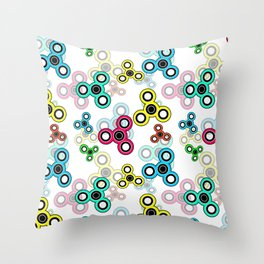 Spinner kids bright seamless print fun toy Throw Pillow