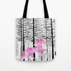 Pink unicorn in the wood Tote Bag