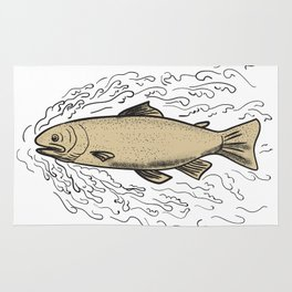 Brown Trout Waves Tattoo Rug
