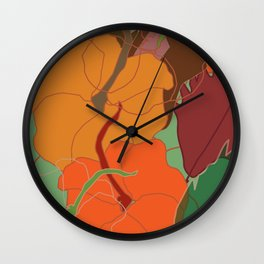 Pumpkin and leaves Wall Clock