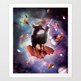 Space Sloth Riding Llama Unicorn - Bacon & Taco Art Print