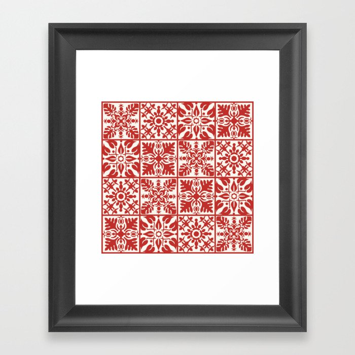 Hawaiian Quilt in Red Gerahmter Kunstdruck