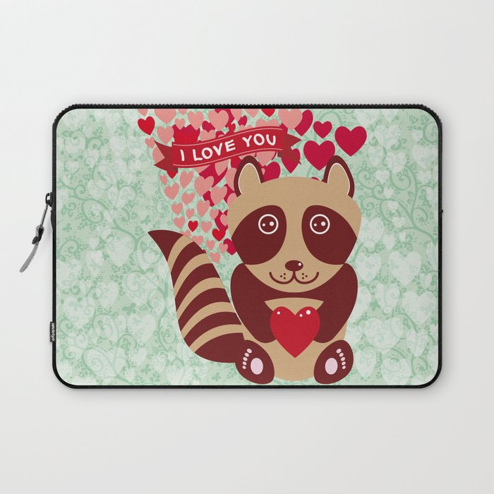 funny raccoon with red heart  I love you Laptop Sleeve