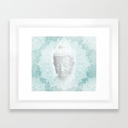 Tibetan Dream Blue White Buddha Mandala Framed Art Print