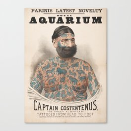 Vintage Tattoo Print of Captain Costentenus Canvas Print
