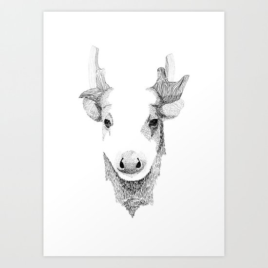 Spotted Deer - Can You See How Much Is Left? Art Print