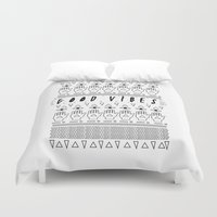 good vibes Duvet Covers featuring GOOD VIBES by Kris Tate