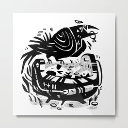 Crow Cauldron Metal Print
