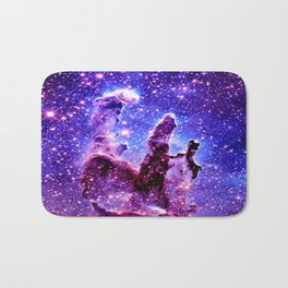 Galaxy Nebula : Pillars of Creation Purple Blue Bath Mat