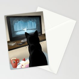 Watching TV Stationery Cards
