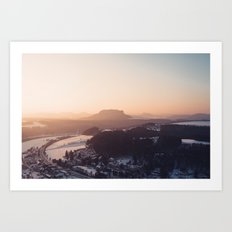 Sunrise in Saxon Switzerland Art Print